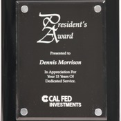 "FPA2810 8"" x 10"" Black Piano Finish Plaque with Floating Clear Acrylic"