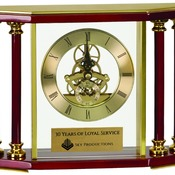 EX103  Executive 4-Pillar Gold & Rosewood Piano Finish Clock
