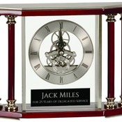 EX104  Executive 4-Pillar Silver & Rosewood Piano Finish Clock