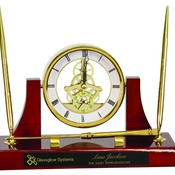 EX107  Executive Gold/Rosewood Piano Finish Clock/Pens/Ltr Opener