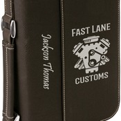 GFT291  Small Black & Silver Book/Bible Cover with Zipper & Handle