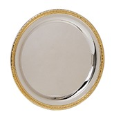 PC2010  Gold Rimmed Silver Plated Tray, 10""