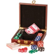 PKR01  Rosewood Finish 100 Chip Poker Gift Set PKR01