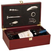WBX61  Rosewood Finish Single Wine Box with Tools & 2 Wine Glasses