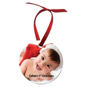 UN4599  1-Sided Semi-Gloss Aluminum Round Ornament with Red Ribbon