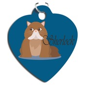 UN5770  Heart 2-Sided Gloss Aluminum Pet Tag with Triangle Attachment