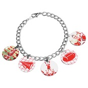 UN5900  Charm Bracelet with 5 Circle Charms & Bales