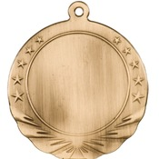 "HR914G - 2 3/4"" Antique Gold 2"" Insert Holder Medal"
