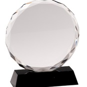 "CRY001L - 7"" Round Facet Crystal on Black Pedestal Base"