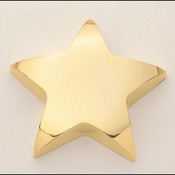 "107   4""X 4""  Gold finished metal star paperweight"