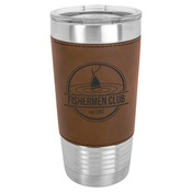 LTM5202 - 20 oz. Light Brown Laserable Leatherette Polar Camel Tumbler with Clear LidLTM5202 - 20 o