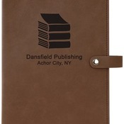 "GFT306 6 1/2"" x 8 3/4"" Dark Brown Leatherette Book/Bible Cover with Snap Closure"