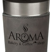 LTM042 16 oz. Gray Leatherette Stainless Steel Travel Mug