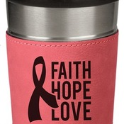 LTM049 16 oz. Pink Leatherette Stainless Steel Travel Mug