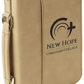 "GFT285  6 3/4"" x 9 1/4"" Light Brown Leatherette Book/Bible Cover with Zipper & Handle"