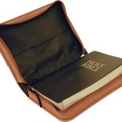 "GFT288  6 3/4"" x 9 1/4"" Rawhide Leatherette Book/Bible Cover with Zipper & Handle"
