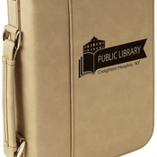 "GFT295  7 1/2"" x 10 3/4"" Light Brown Leatherette Book/Bible Cover with Zipper & Handle"