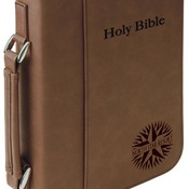 "GFT296  7 1/2"" x 10 3/4"" Dark Brown Leatherette Book/Bible Cover with Zipper & Handle"