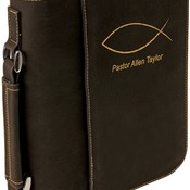 "GFT297  7 1/2"" x 10 3/4"" Black Leatherette Book/Bible Cover with Zipper & Handle"