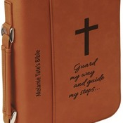 "GFT298  7 1/2"" x 10 3/4"" Rawhide Leatherette Book/Bible Cover with Zipper & Handle"