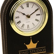 LLC301  Black Leatherette Arch Desk Clock