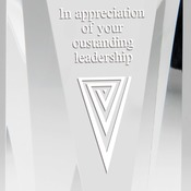"Elegant V Face Crystal Award Self Standing Individually Boxed Laserable  6 Std Pack  3 1/2"" X 8"" CRY"