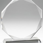 "Elegant Crystal Octagon Award   Individually Boxed  Laserable   6 Std Pack  5 1/2"" X 6 1/4"" CRY576"