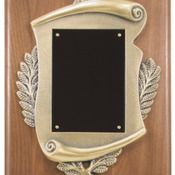 "CSP810 8"" x 10"" Genuine Walnut Step Edge Plaque with Metal Scroll Frame & Plate"