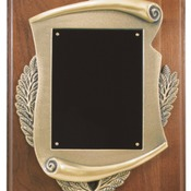 "CSP912 9"" x 12"" Genuine Walnut Step Edge Plaque with Metal Scroll Frame & Plate"