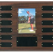 "PTP2   Cherry Finish Perpetual Plaque with 12 Plates & 3 1/2"" x 5"" Photo Holder"