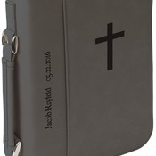 "GFT414  7 1/2"" x 10 3/4"" Gray Leatherette Book/Bible Cover with Zipper & Handle"