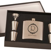 FSK651SET  Stainless Steel Flask Set in Black Presentation Box