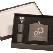 FSK652SET  Matte Black Flask Set in Black Presentation Box