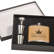 FSK655SET  Leather Flask Set in Black Presentation Box