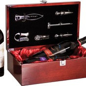 WBX02  Rosewood Piano Finish Double Bottle Wine Box with Tools