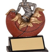 "XP102   5-1/4"" Xploding Resin Male Basketball Trophy"