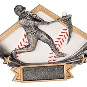 "DSR11   6-1/4"" x 4-1/4"" Diamond Star Resin Baseball Trophy"