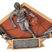 "DSR12  6-1/4"" x 4-1/4"" Diamond Star Resin Male Basketball Trophy"
