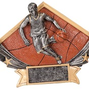 "DSR52   8-1/2"" X 5-3/4"" Diamond Star Resin Male Basketball Trophy"