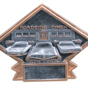 "6"" X 4-1/2"" Diamond Plate Resin Small Car Show Trophy"