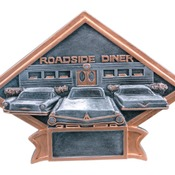 "6"" X 4-1/2"" Diamond Plate Resin Large Car Show Trophy"