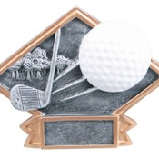 "6"" X 4-1/2"" Diamond Plate Resin Small Golf Trophy"