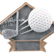 "6"" X 4-1/2"" Diamond Plate Resin Large Golf Trophy"