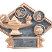 "DPS68   6"" X 4-1/2"" Diamond Plate Resin Small Lamp of Knowledge Trophy"