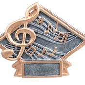 "6"" X 4-1/2"" Diamond Plate Resin Small Music Trophy"