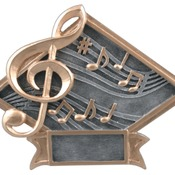 "6"" X 4-1/2"" Diamond Plate Resin Large Music Trophy"