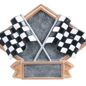 "6"" X 4-1/2"" Diamond Plate Resin Small Racing Trophy"