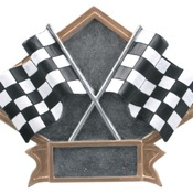 "6"" X 4-1/2"" Diamond Plate Resin Large Racing Trophy"