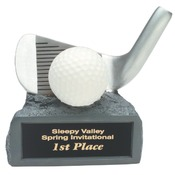 "4-1/4"" White/ Silver Golf on Base Resin Trophy"
