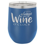 LTM854-Polar Camel 12 oz. Matte Royal Blue Vacuum Insulated Stemless Wine Glass w/Lid
